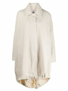 Asai high-low shearling coat - White