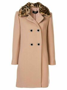 Paule Ka leopard print trim coat - PINK
