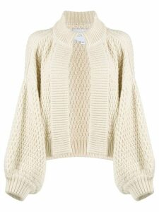 I Love Mr Mittens waffle knit cardigan - White