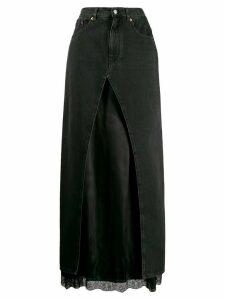 Mm6 Maison Margiela satin insert denim skirt - Black