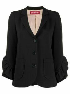 Guardaroba ruffled sleeve blazer - Black