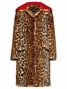 Miu Miu faux fur leopard print coat - Green