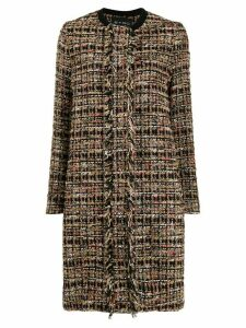 Etro fringed tweed coat - Brown