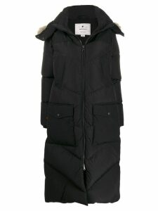Woolrich quilted zip-up long coat - Black