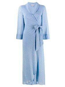 Ganni floral-print wrap dress - Blue