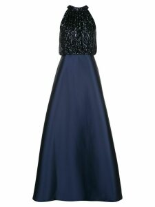 Sachin & Babi sequin top halter gown - Blue