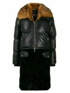 Urbancode faux-leather quilted parka - Black