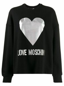 Love Moschino foil heart print sweatshirt - Black