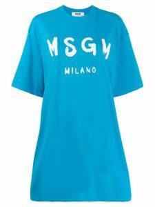 MSGM printed logo T-shirt dress - Blue