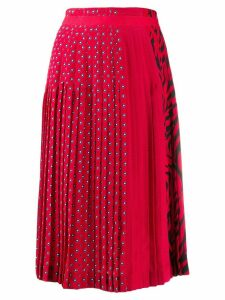 Ermanno Scervino mixed-print pleated skirt - Red