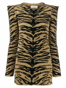 Laneus tiger print shimmer top - Gold