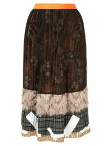 Kolor pleated patchwork midi skirt - Brown