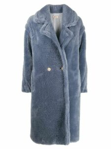Yves Salomon double-breasted faux fur coat - Blue
