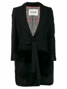 Ava Adore single breasted wrap coat - Black