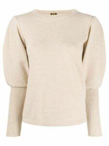 Johanna Ortiz contrast sleeve fine knit sweater - Neutrals