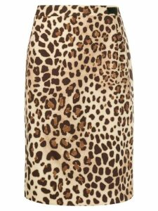 be blumarine leopard print pencil skirt - Brown