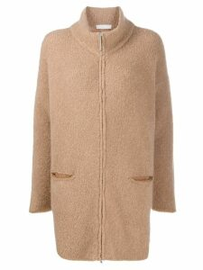 Fabiana Filippi textured mid-length cardi-coat - Neutrals