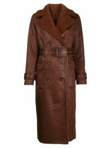Urbancode long faux-leather coat - Brown