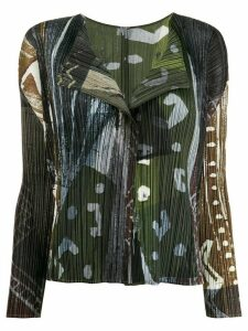 Pleats Please Issey Miyake abstract micro-pleated blouse - Green