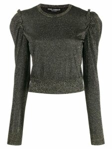 Dolce & Gabbana lurex ruffled shoulder sweater - Black
