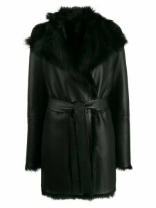 Joseph fur lined short coat - Black