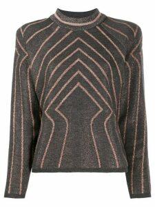 Alberta Ferretti metallic geometric-patterned jumper - Grey