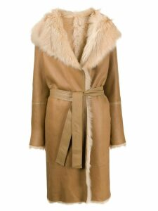 Joseph belted shawl collar coat - Brown