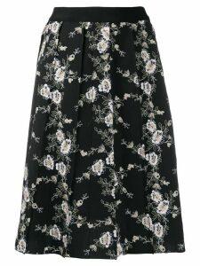 Giambattista Valli floral embroidered pleated skirt - Black