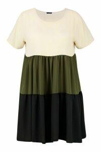 Womens Plus Colourblock Tiered Smock Dress - green - 20, Green