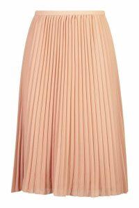 Womens Plus Chiffon Pleated Midi Skirt - pink - 18, Pink