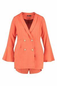 Womens Plus Tailored Flare Sleeve Playsuit - orange - 16, Orange