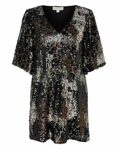 Monsoon Carmen Camo Sequin Short Dress