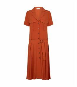 Pleated Utility Midi Dress