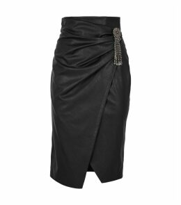 Embellished Faux Leather Wrap Skirt