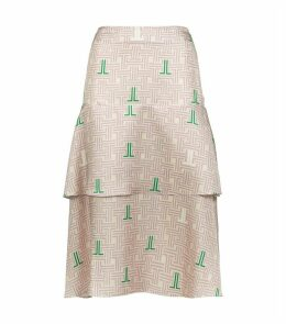 Silk Tiered Midi Skirt
