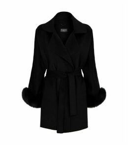 Wool-Cashmere Fur-Trim Coat