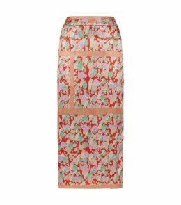 Mina Satin Print Midi Skirt