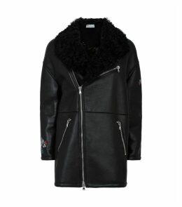 Embellished Leather Shearling Coat