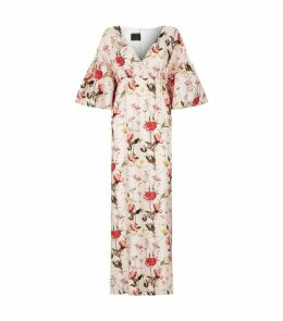 Scarlett V-Neck Puff Sleeve Silk Dress