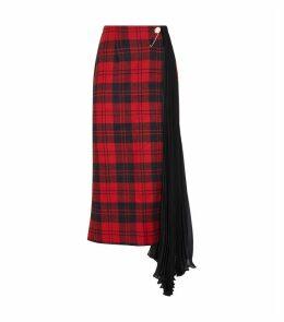 Tartan Pleat Midi Skirt