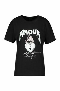 Womens Amour Heart Slogan T-Shirt - black - M, Black