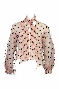 Womens Polka Dot Oversized Organza Blouse - pink - 12, Pink