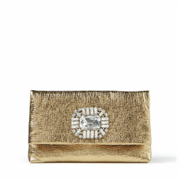 TITANIA Gold Metallic Leather Clutch Bag with Jewelled Centrepiece
