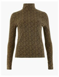 M&S Collection Cotton Rich Animal Print Top