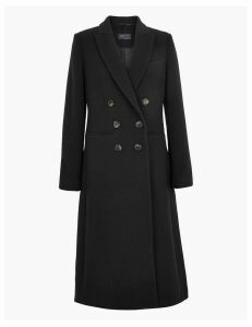 M&S Collection Wool Blend Waisted Overcoat