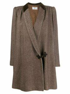 Valentino Pre-Owned 1980s herringbone coat - Brown