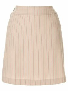 Chanel Pre-Owned CC button charm stripe skirt - Brown