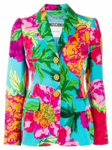 Moschino Pre-Owned 1990s tropical print blazer - Blue