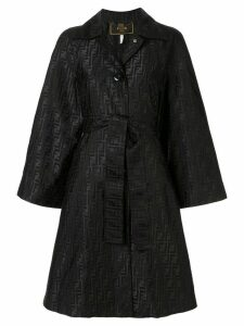 Fendi Pre-Owned Zucca pattern belted coat - Black