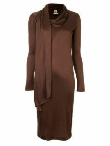 Hermès Pre-Owned scarf detail fitted dress - Brown